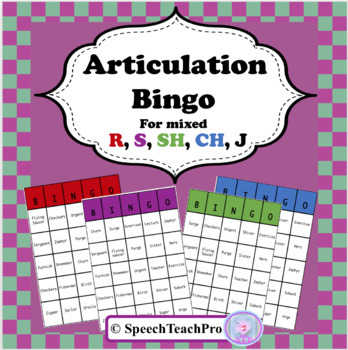 Articulation Bingo for R, S, SH, CH, J