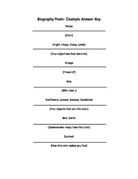 Color Biography Poem Outline