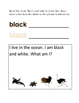 Color Black Reading Riddles Word Clues Emergent Reader Interactive What am I