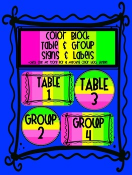 Color Block Table & Group Signs & Labels