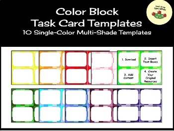 Color Block Task Card Templates