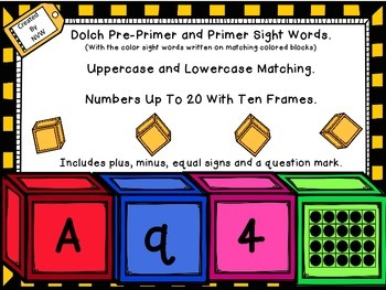 Color Blocks BUNDLE includes Dolch Sight Words, Letters, N