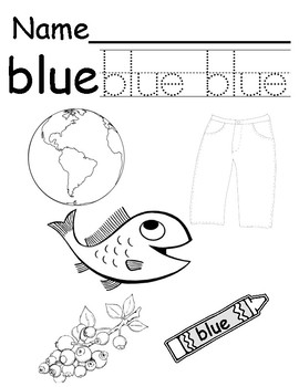 Color Blue Coloring/tracing Page
