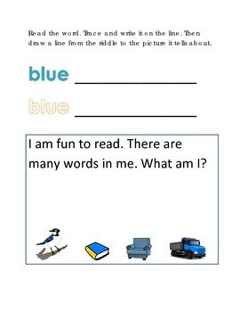 Color Blue Reading Riddles Word Clues Emergent Reader Inte