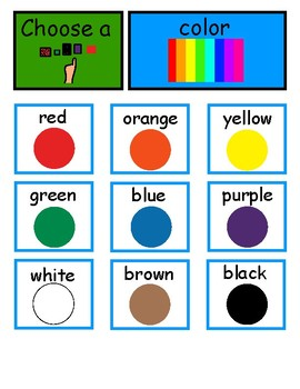 Color Board Using A Modified Fitzgerald Key (AAC, Autism)