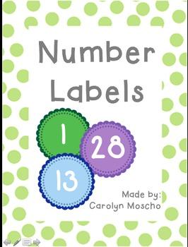 Color Book Bin Number Labels (Numbers 1-36)