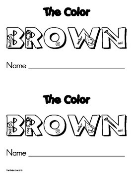 Color Brown Emergent Leveled Reader ** Read to Self