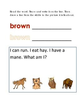 Color Brown Reading Riddles Word Clues Emergent Reader Interactive What am I