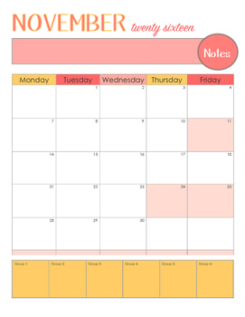 Color Burst 10 Month School Calendar