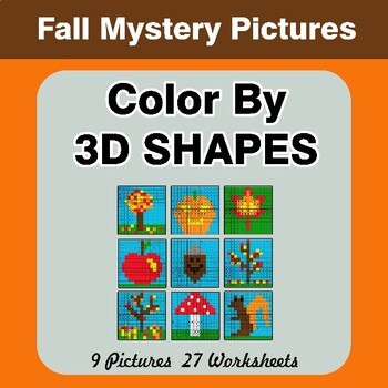 Color By 3D Shapes - Autumn Mystery Pictures