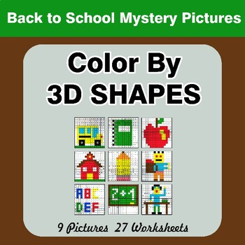 Color By 3D Shapes - Back To School Mystery Pictures