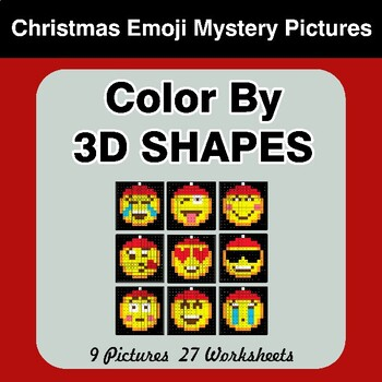 Color By 3D Shapes - Christmas Emoji Mystery Pictures