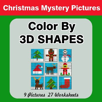 Color By 3D Shapes - Christmas Mystery Pictures