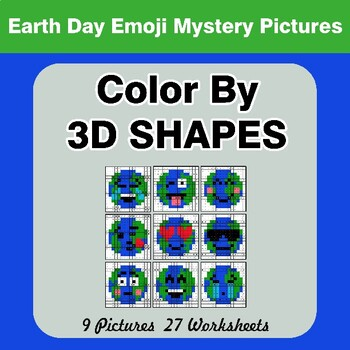 Color By 3D Shapes - Earth Day Emoji Mystery Pictures