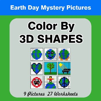 Color By 3D Shapes - Earth Day Mystery Pictures