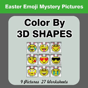 Color By 3D Shapes - Easter Emoji Mystery Pictures