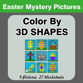 Color By 3D Shapes - Easter Mystery Pictures