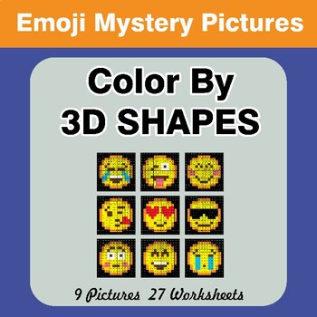 Color By 3D Shapes - Emoji Mystery Pictures