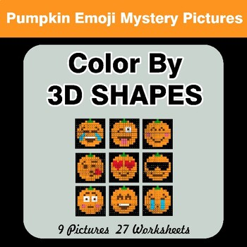 Color By 3D Shapes - Halloween Emoji Mystery Pictures