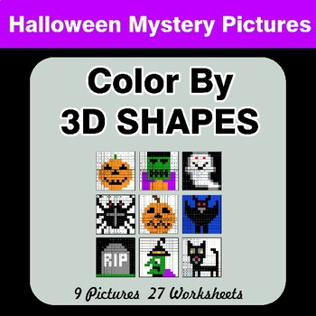 Color By 3D Shapes - Halloween Mystery Pictures