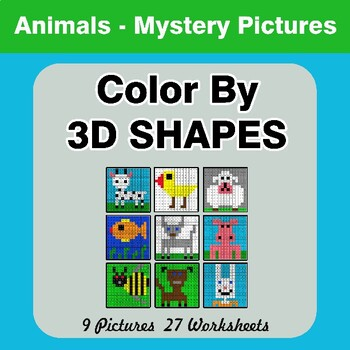 Color By 3D Shapes - Math Mystery Pictures - Animals