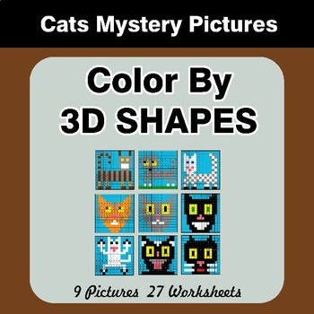Color By 3D Shapes - Math Mystery Pictures - Cats