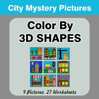 Color By 3D Shapes - Math Mystery Pictures - City
