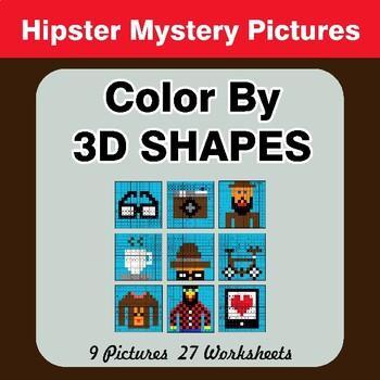 Color By 3D Shapes - Math Mystery Pictures - Hipsters