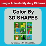 Color By 3D Shapes - Math Mystery Pictures - Jungle Animals