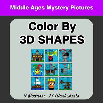 Color By 3D Shapes - Math Mystery Pictures - Middle Ages