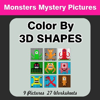 Color By 3D Shapes - Math Mystery Pictures - Monsters