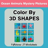 Color By 3D Shapes - Math Mystery Pictures - Ocean Animals
