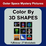 Color By 3D Shapes - Math Mystery Pictures - Outer Space