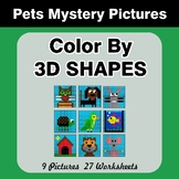 Color By 3D Shapes - Math Mystery Pictures - Pets