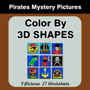Color By 3D Shapes - Math Mystery Pictures - Pirates