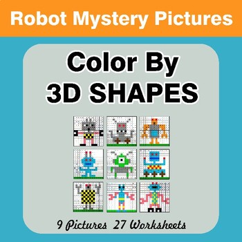 Color By 3D Shapes - Math Mystery Pictures - Robots
