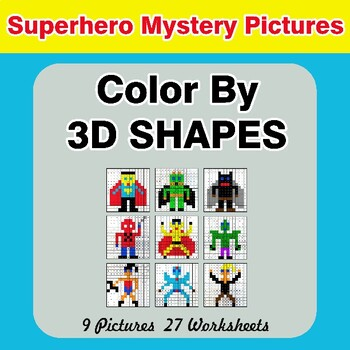 Color By 3D Shapes - Math Mystery Pictures - Superhero