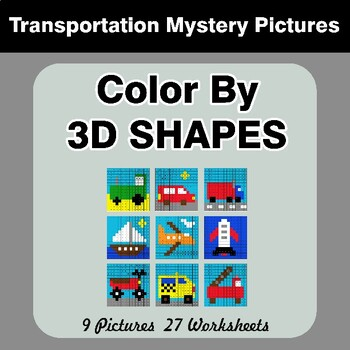 Color By 3D Shapes - Math Mystery Pictures - Transportation