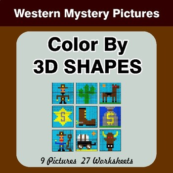 Color By 3D Shapes - Math Mystery Pictures - Western