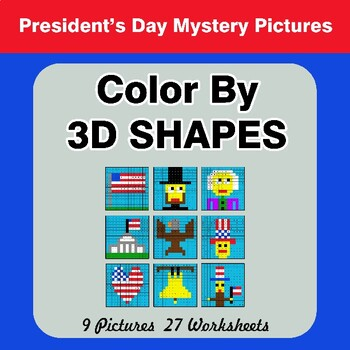 Color By 3D Shapes - President's Day Mystery Pictures