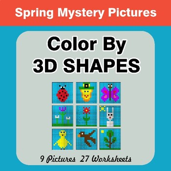 Color By 3D Shapes - Spring Mystery Pictures