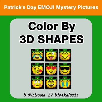 Color By 3D Shapes - St. Patrick's Day Emoji Mystery Pictures