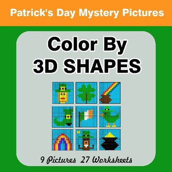 Color By 3D Shapes - St. Patrick's Day Mystery Pictures