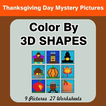 Color By 3D Shapes - Thanksgiving Mystery Pictures