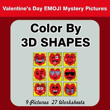 Color By 3D Shapes - Valentine's Day Mystery Pictures