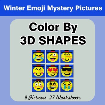 Color By 3D Shapes - Winter Emoji Mystery Pictures
