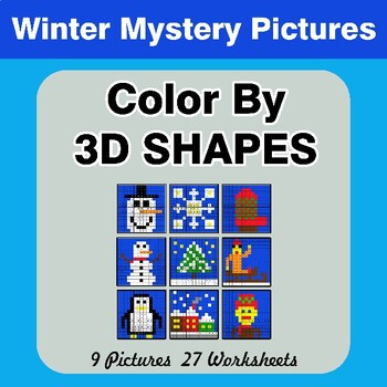 Color By 3D Shapes - Winter Mystery Pictures