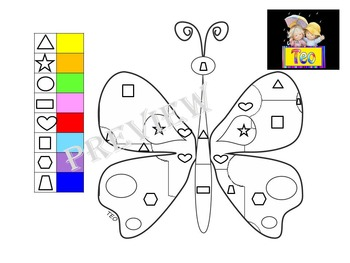 Butterfly - Color by Code - Math - Addition - Number - Alphabet - Shapes