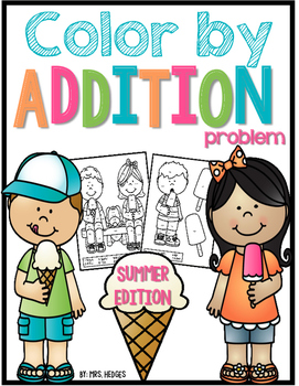 Color By Addition Problem-Summer Edition