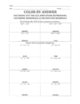 Color By Answer - Factoring, Simplifying, and Foiling Polynomials